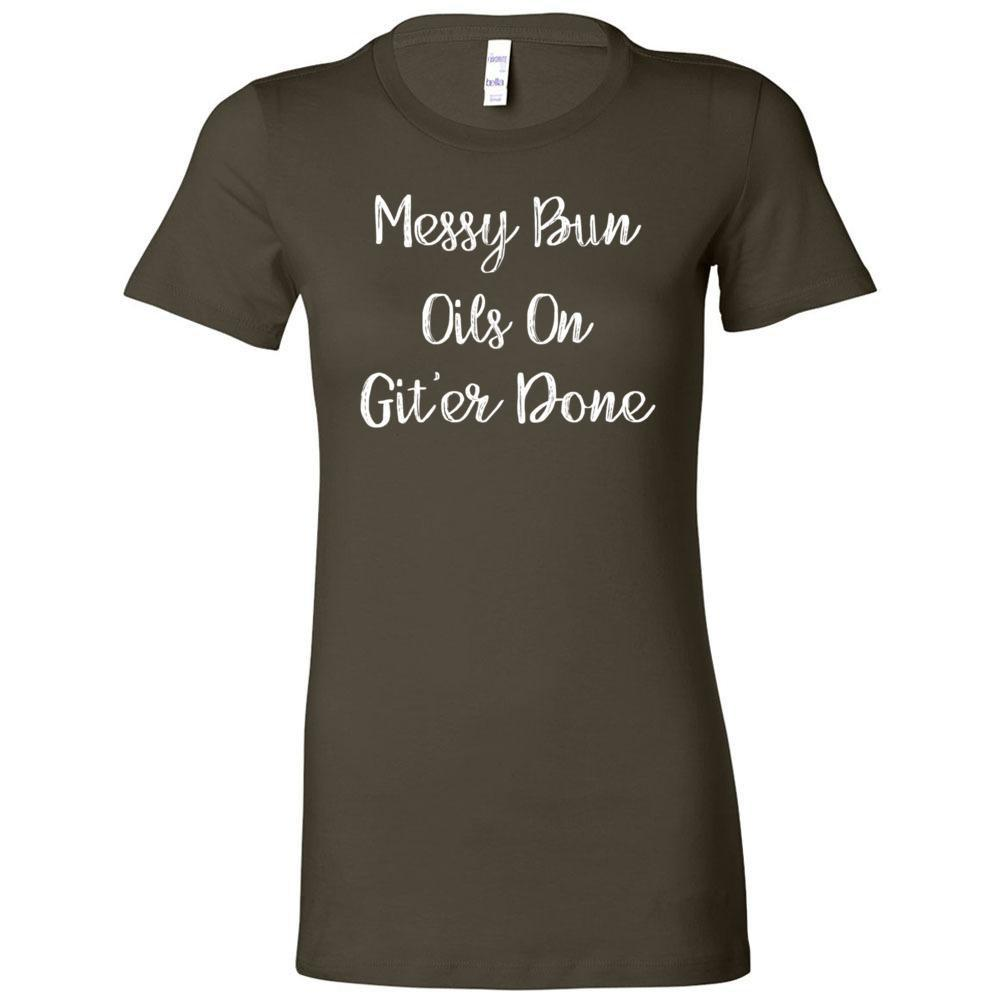 Messy Bun - Slim Fitted Crew | 13 Colors Essential Oil Style young living tshirts funny oil shirts popular oil shirts doterra tshirts convention shirts