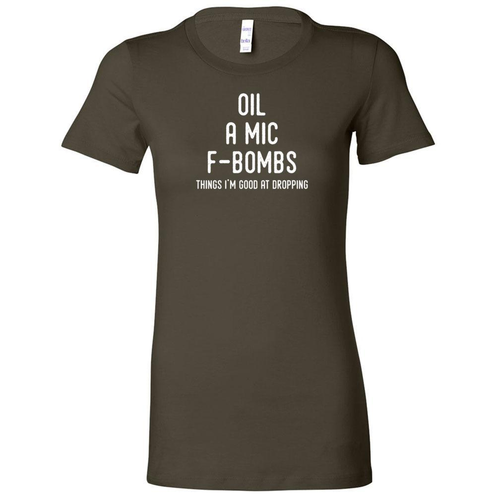 Oil, A Mic, F-Bombs - Slim Fitted Crew | 13 Colors Essential Oil Style young living tshirts funny oil shirts popular oil shirts doterra tshirts convention shirts