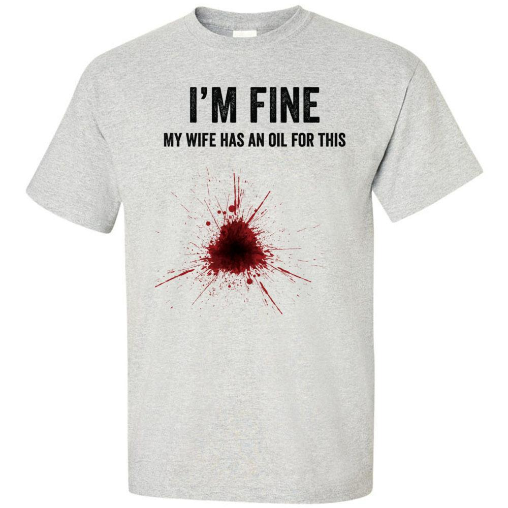 I'm Fine My Wife Has an Oil for This - Ultra Cotton Crew | 3 Colors | 5XL Essential Oil Style young living tshirts funny oil shirts popular oil shirts doterra tshirts convention shirts