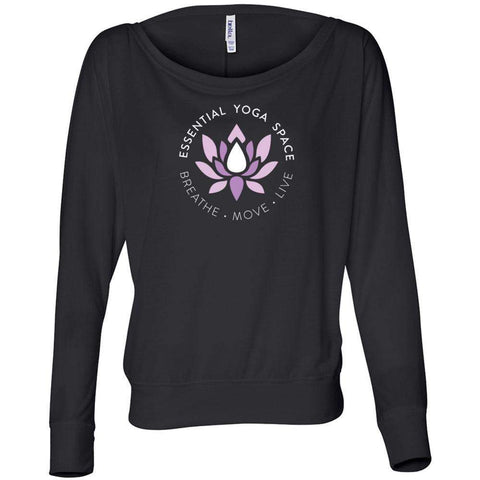 Essential Yoga Space Logo - Women's Flowy Long Sleeve Off Shoulder Tee