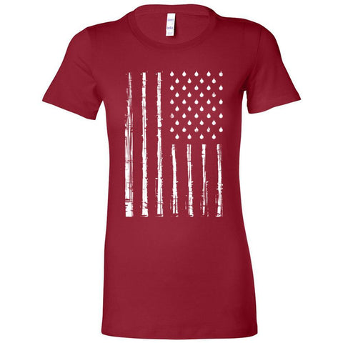 Grunge Oily American Flag - Slim Fitted Crew | 13 Colors