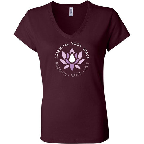 Essential Yoga Space Logo - Women's Short Sleeve Jersey V-Neck Tee