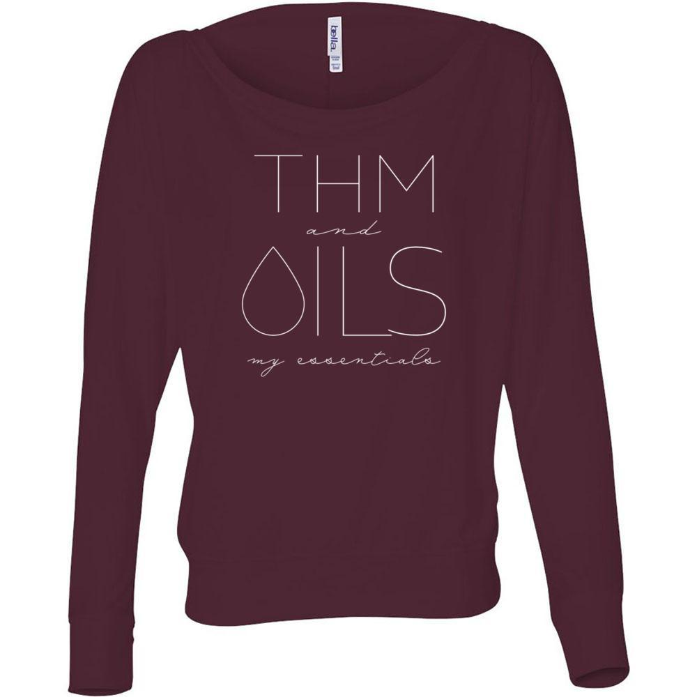 THM and OILS: my essentials  - Flowy Long Sleeve Off Shoulder Tee Essential Oil Style young living tshirts funny oil shirts popular oil shirts doterra tshirts convention shirts