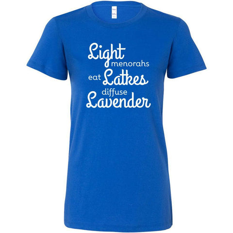 LIGHT menorahs • eat LATKES • diffuse LAVENDER - Slim Fitted Crew | 13 Colors
