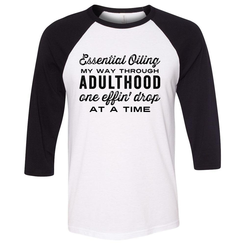 Adulthood one effin' drop at a time - Unisex Classic Baseball Tee | White Body | Colored Sleeves 10 colors