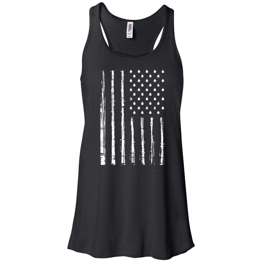 Grunge Oily American Flag - Women's Flowy Racerback Tank Essential Oil Style young living tshirts funny oil shirts popular oil shirts doterra tshirts convention shirts
