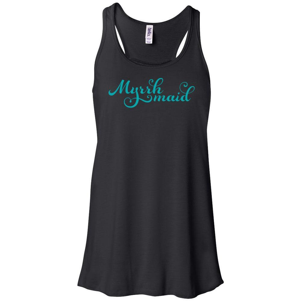 Myrrh Maid - Women's Flowy Racerback BLACK Tank Essential Oil Style young living tshirts funny oil shirts popular oil shirts doterra tshirts convention shirts