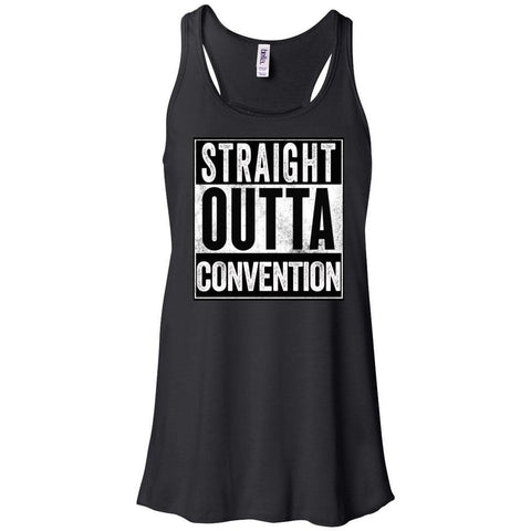 STRAIGHT OUTTA CONVENTION - Women's Flowy Racerback Tank
