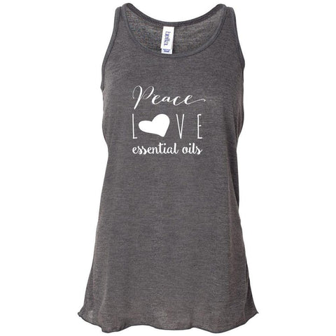 Peace Love Oils (whimsical) - Women's Flowy Racerback Tank