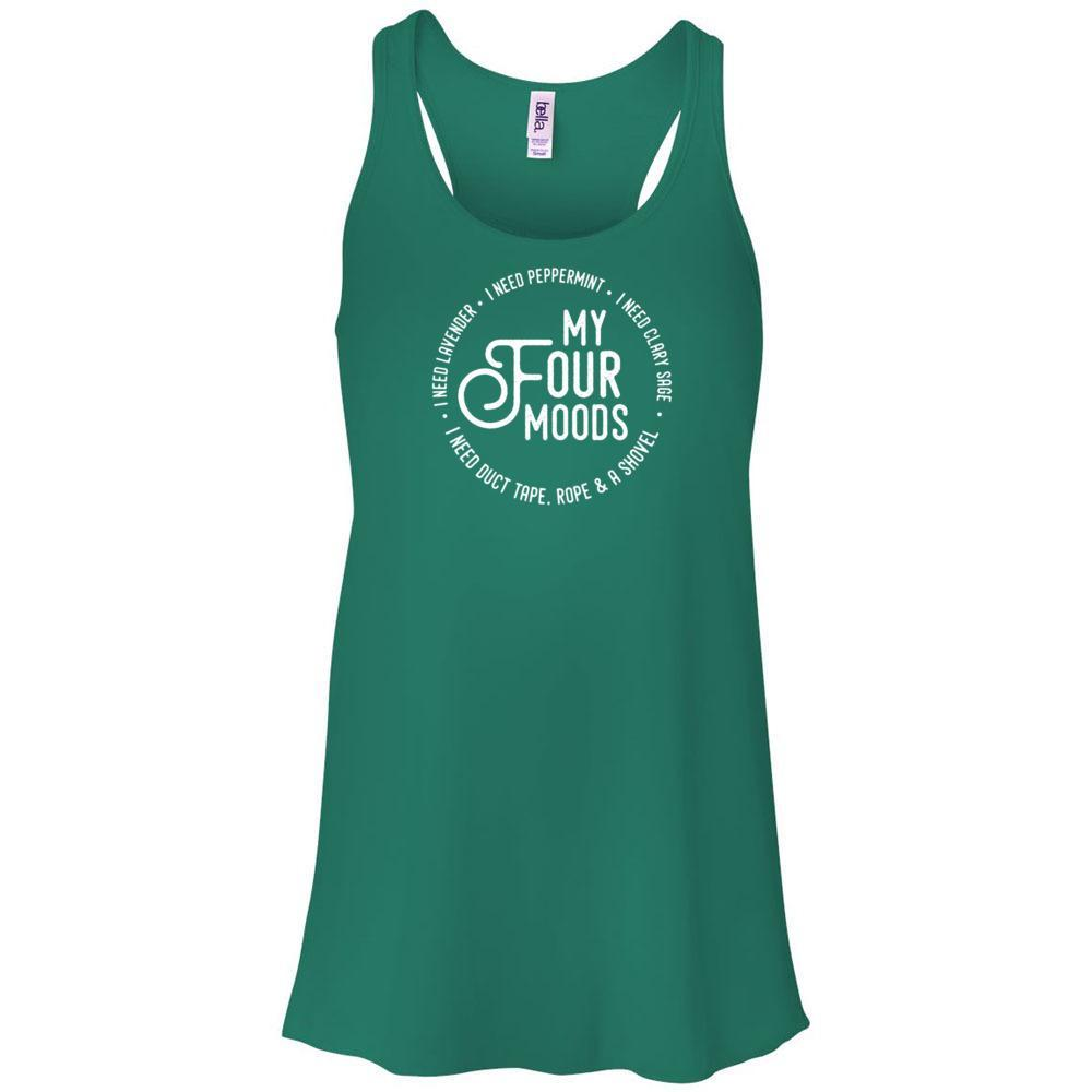 My Four Moods - Women's Flowy Racerback Tank Essential Oil Style young living tshirts funny oil shirts popular oil shirts doterra tshirts convention shirts