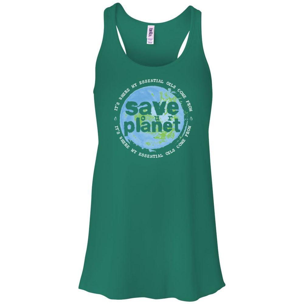 SAVE our PLANET: It's where my essential oils comes from - Women's Flowy Racerback Tank