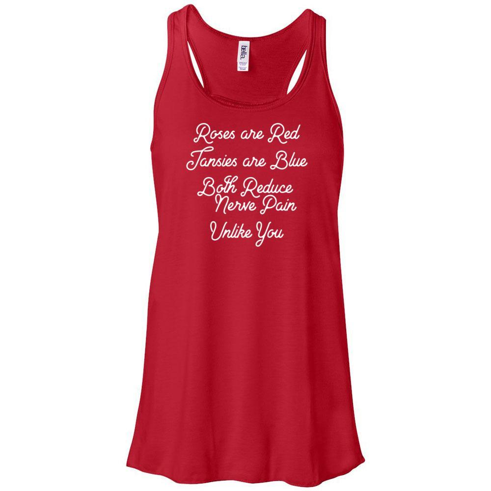 Roses are Red, Tansies are Blue  - Women's Flowy Racerback Tank Essential Oil Style young living tshirts funny oil shirts popular oil shirts doterra tshirts convention shirts