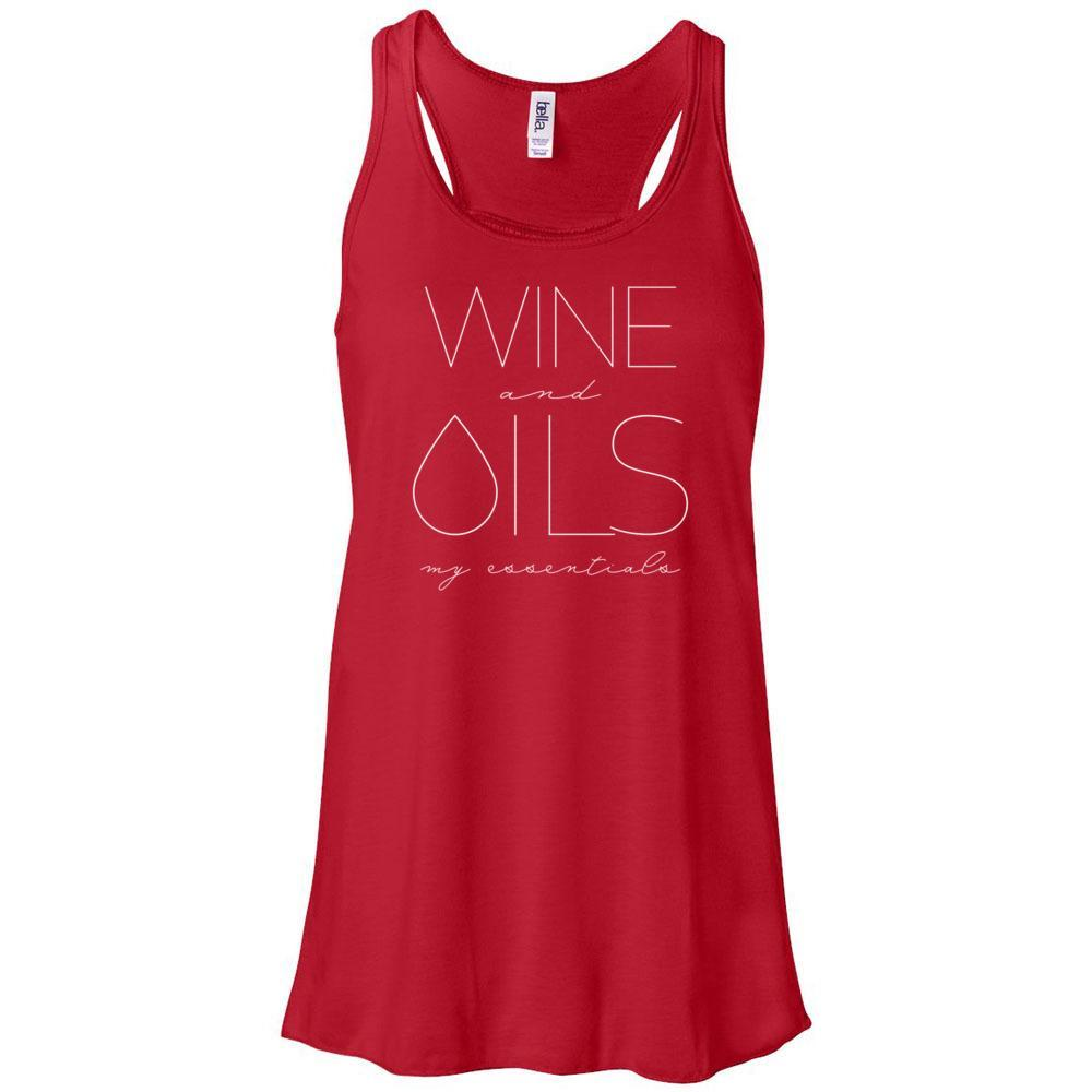 WINE and OILS: my essentials - Women's Flowy Racerback Tank Essential Oil Style young living tshirts funny oil shirts popular oil shirts doterra tshirts convention shirts