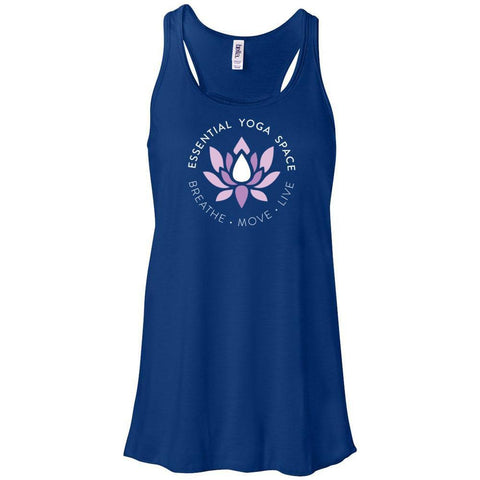 Essential Yoga Space Logo - Women's Flowy Racerback Tank