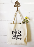Market Tote - Love Language Essential Oil Style young living tshirts funny oil shirts popular oil shirts doterra tshirts convention shirts