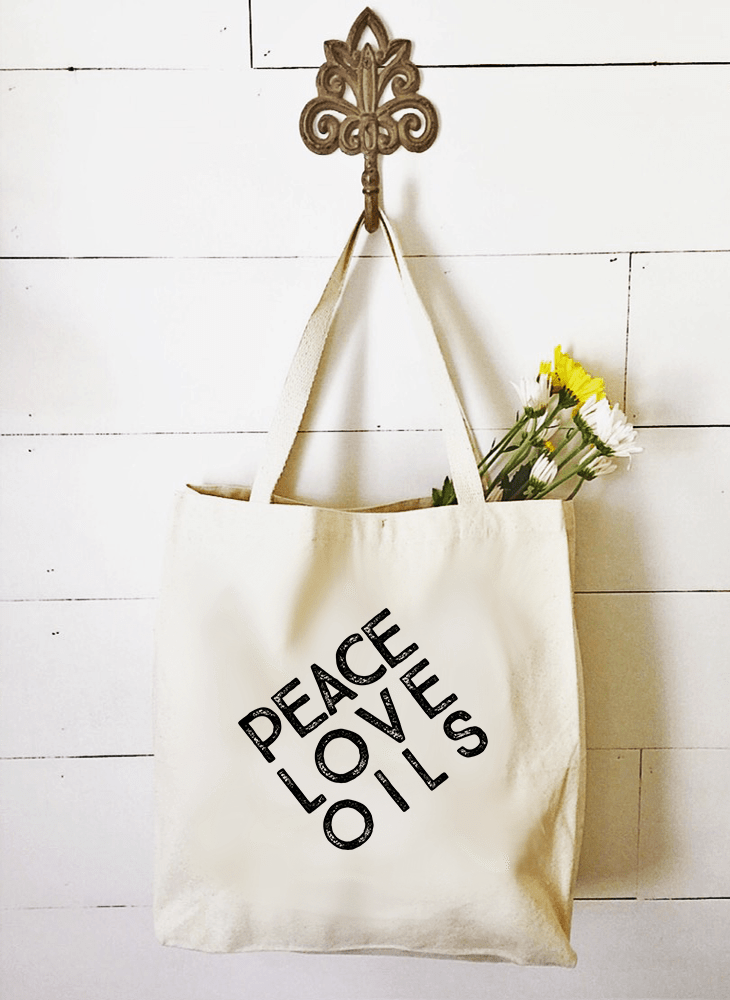 Market Tote - Peace • Love • Oils Essential Oil Style young living tshirts funny oil shirts popular oil shirts doterra tshirts convention shirts