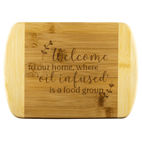 Bamboo Wood Cutting Board  - Welcome to our home, where 'oil infused' is a food group. Essential Oil Style young living tshirts funny oil shirts popular oil shirts doterra tshirts convention shirts