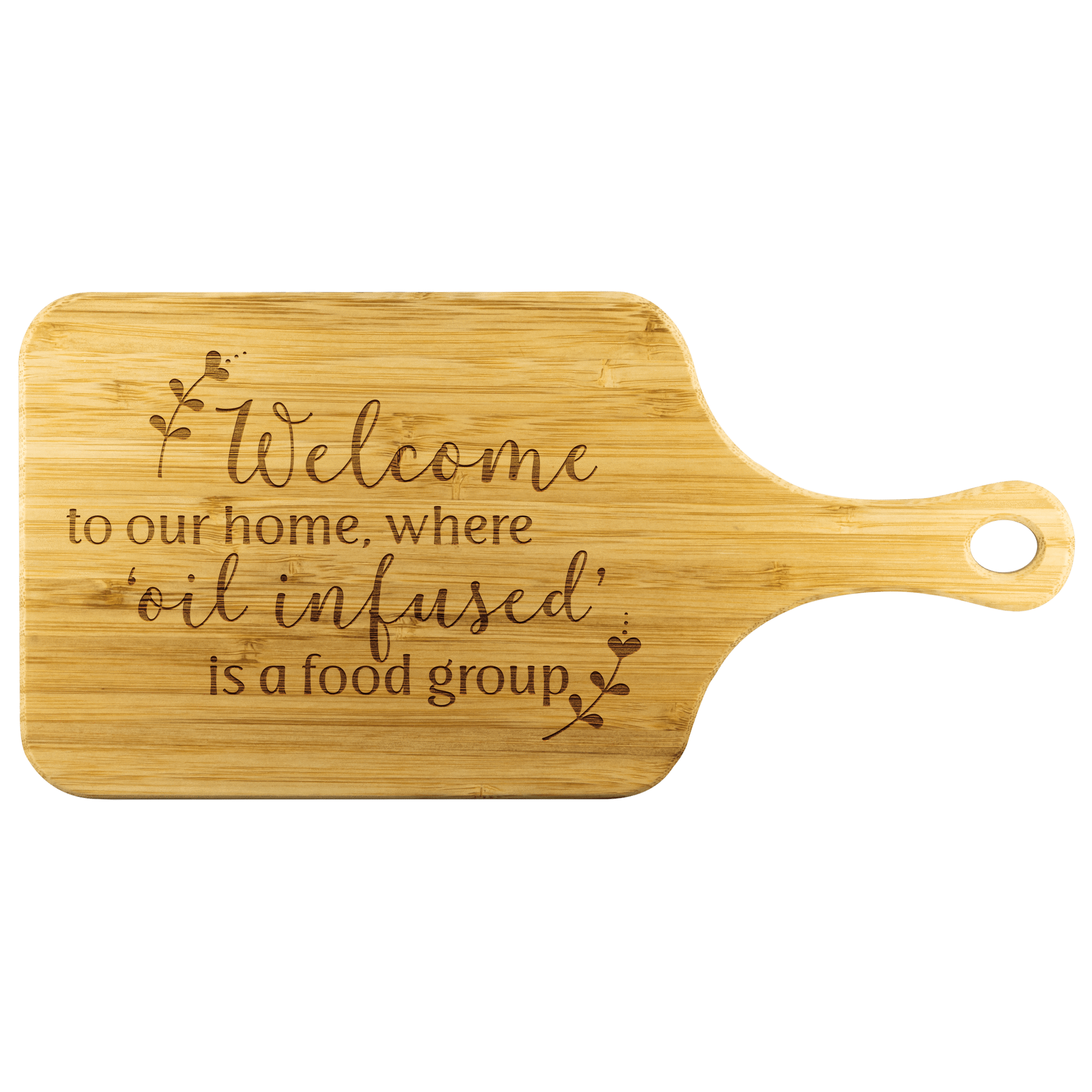 Bamboo Wood Cutting Board With Handle Welcome To Our Home Where