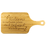 Bamboo Wood Cutting Board (with Handle) - Welcome to our home, where 'oil infused' is a food group. LARGE & SMALL