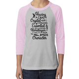 YOUTH Baseball Raglan - Having a Crazy Mom Builds Character Essential Oil Style young living tshirts funny oil shirts popular oil shirts doterra tshirts convention shirts