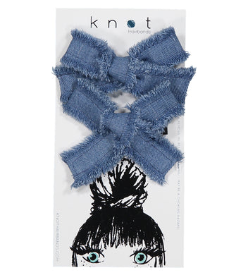 DENIM MINI BOW CLIP SET - KNOT Hairbands