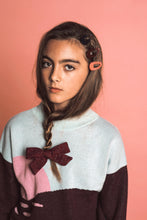 Load image into Gallery viewer, SWEATER BOW CLIP // Burgundy - KNOT Hairbands