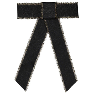 METALLIC FRINGE BOW CLIP // Black + Gold - KNOT Hairbands