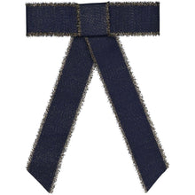 Load image into Gallery viewer, METALLIC FRINGE BOW CLIP // Midnight Navy + Gold - KNOT Hairbands