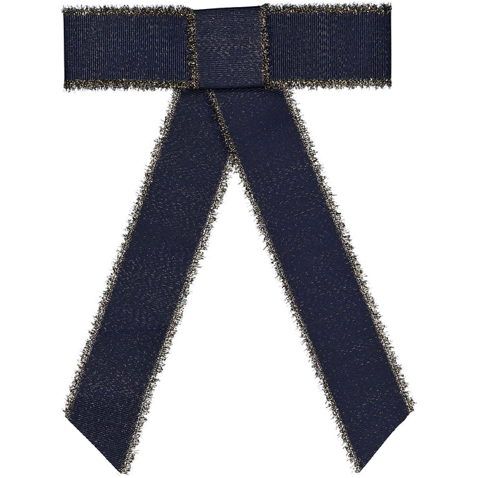 METALLIC FRINGE BOW CLIP // Midnight Navy + Gold - KNOT Hairbands