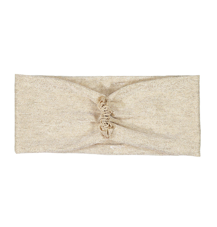 RUFFLED Headwrap // Metallic Ivory + Gold - KNOT Hairbands