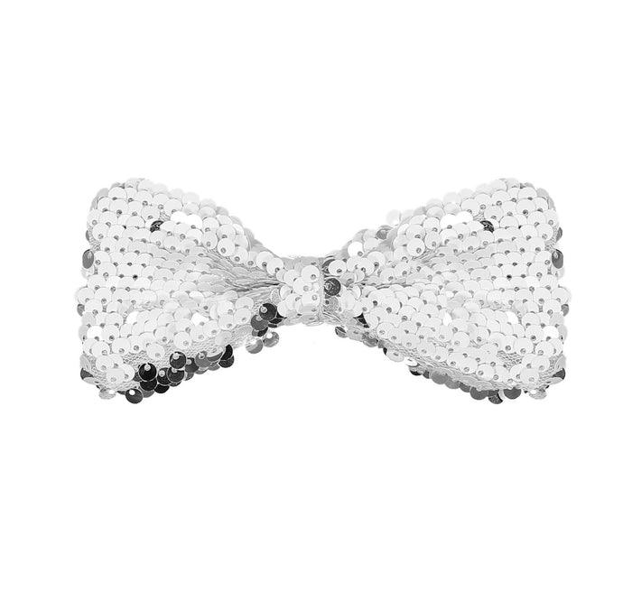 SPARKLE Bow Clip // Silver n White - KNOT Hairbands