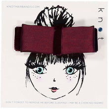 Load image into Gallery viewer, SILK + VELVET RIBBON BOW CLIP // Burgundy // MINI - KNOT Hairbands