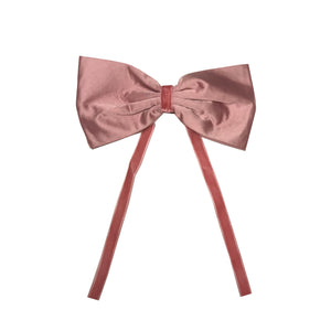 SILK + VELVET RIBBON BOW CLIP // Puff Pink // YOUTH - KNOT Hairbands