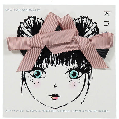 TRACE RIBBON BOW MINI CLIP SET - KNOT Hairbands