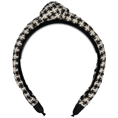 TWEED KNOT HEADBAND // Black + Pearl Weave - KNOT Hairbands