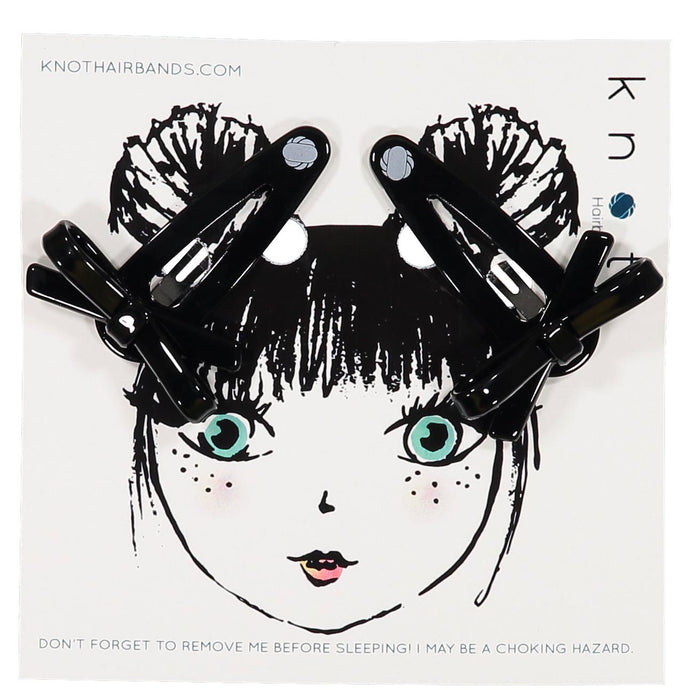 X BOW CLIP SET // Onyx Black - KNOT Hairbands