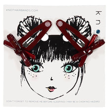 Load image into Gallery viewer, X BOW CLIP SET // Burgundy - KNOT Hairbands