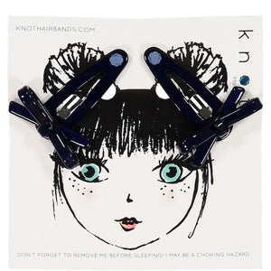 X BOW CLIP SET // Midnight Navy - KNOT Hairbands