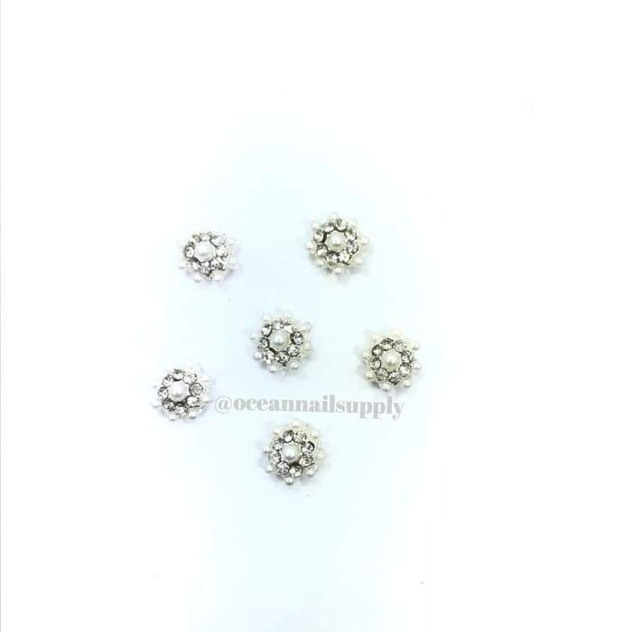 Charms - A011 Silver Flower with Crystal & Pearl - OceanNailSupply