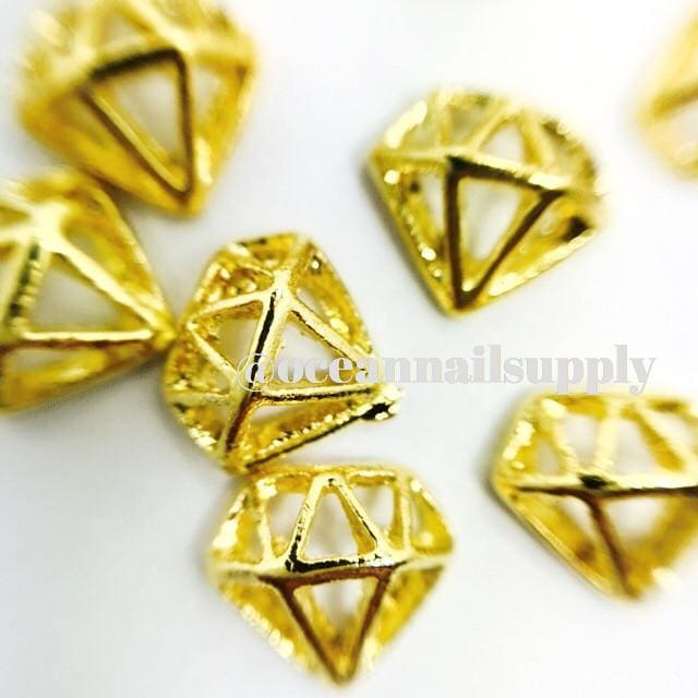 Charms - A013 Gold Diamond Frame - OceanNailSupply