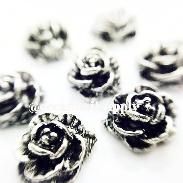 Charms - A020 Gunn Metal Rose - OceanNailSupply