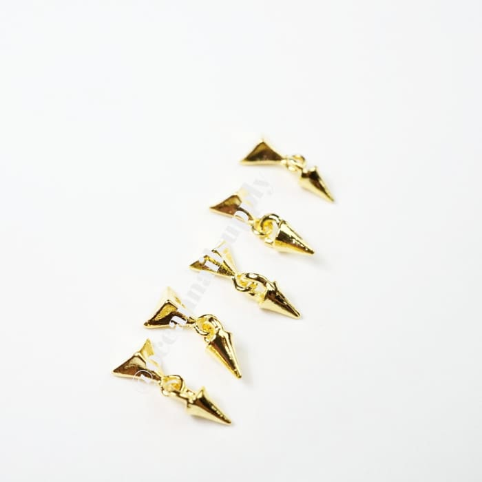 Charms - A208 Gold pyramid dangling charm with spike - OceanNailSupply