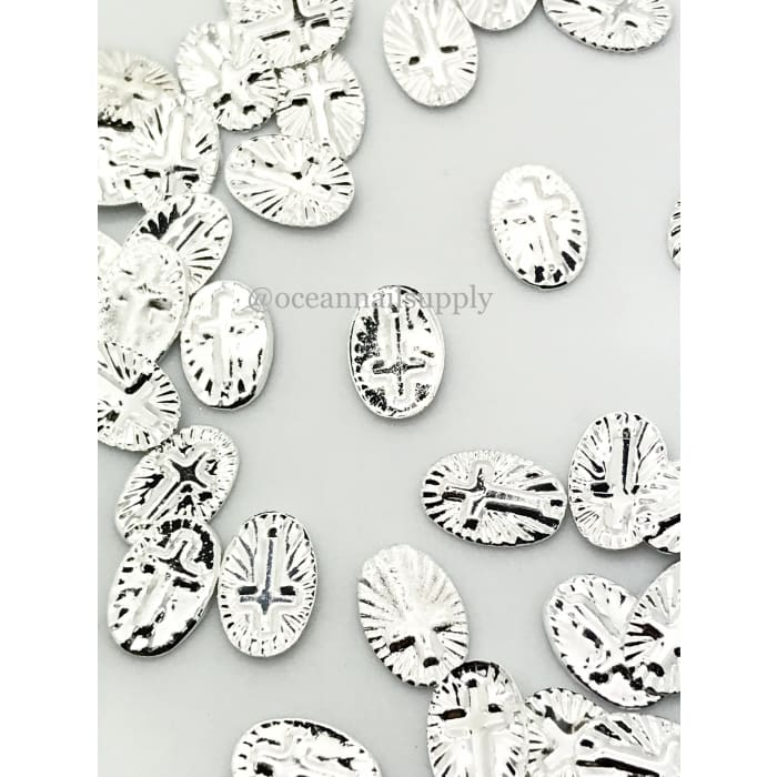 Charms - A213 Silver Rounded Cross - OceanNailSupply