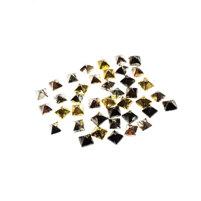 Solid Metal Pyramid Studs silver/gold/rose gold/gun metal 10pcs - OceanNailSupply