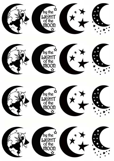 "Crescent Moon Fun 5/"" X 3-1//2/"" Card Black Fused Glass Decals 18CC998"