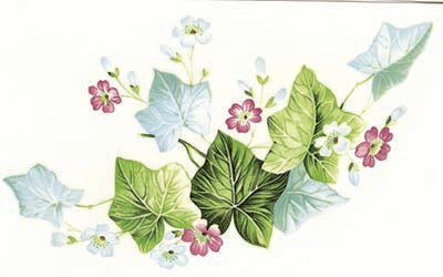 "Ivy Green Leaf Swag Vine 2 pcs 7-1//4/"" X 5/"" Waterslide Ceramic Decals Xx"