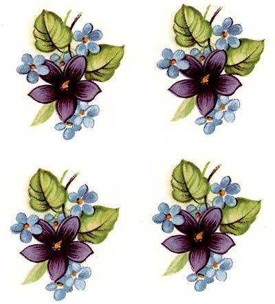 "8 Blue White Forget Me Not Flowers 2-1//8/"" Waterslide Ceramic Decals Xx"