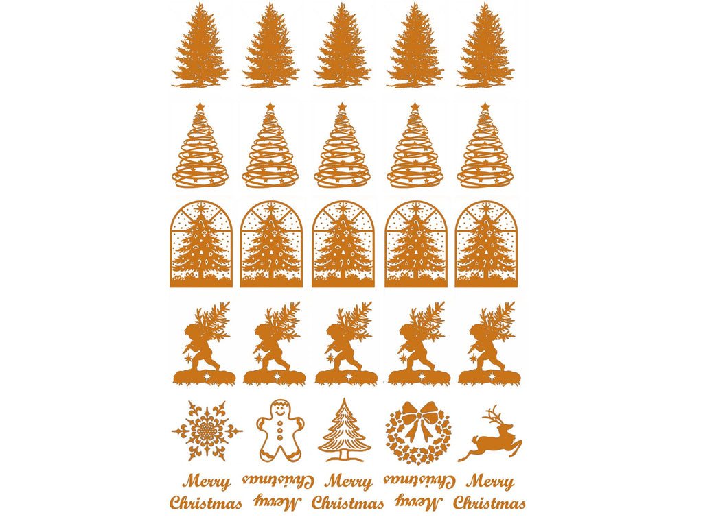 "Christmas Tree 30 pcs 5/8"" X 7/8"" Gold Fused Glass Decals 5"" X 3.5"" Card 18CC1039"