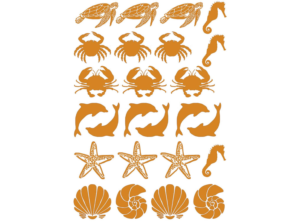 "Sea Life 25 pcs 3/4"" X 1"" Gold Fused Glass Decals 5"" X 3.5"" Card 18CC1041"