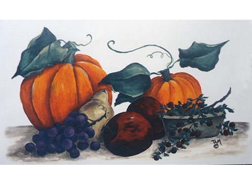 Autumn Fall Harvest Pumpkin Apple Grapes Item # 10883
